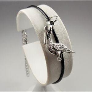 Jewelry - NAUTICAL SILVER TONE PELICAN BLACK LTHR BRACELET